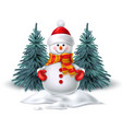 cute realistic snowman in mittens scarf hat vector image
