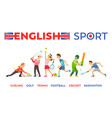 english sport curling golf tennis football cricket vector image vector image