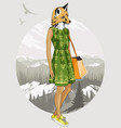fashion hipster fox on forest background vector image vector image