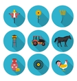flat icons set farm vector image vector image