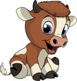 Funny baby cow vector image