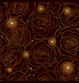 golden flowers rose seamless pattern line gold in vector image