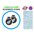 grain harvest sacks rounded icon with set vector image vector image