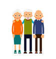 group older people three aged people stand vector image vector image