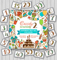 Happy birthday card invitation on wood background vector image vector image