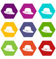 hat icon set color hexahedron vector image vector image