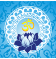 Indian spiritual sign ohm with lotus