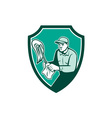 Janitor Cleaner Holding Mop Cloth Shield Retro vector image vector image