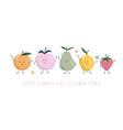 kawaii fruit characters cute cartoons isolated vector image