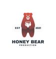 logo honey bear color badge style vector image vector image
