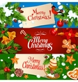 Merry Christmas banner and greeting card set vector image vector image
