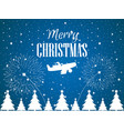 merry christmas santa claus flies on an airplane vector image vector image