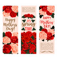 mother day bouquet of rose flower greeting banner vector image vector image