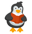 penguin reading textbook studying animal vector image