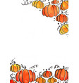 pumpkin watercolor hand painting frame vector image vector image