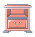 red nightstand icon cartoon style vector image vector image