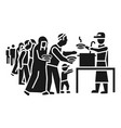refugee people take food icon simple style vector image