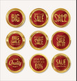 sale retro vintage gold and red badges and labels vector image vector image