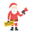 santa claus holding sale banner and megaphone vector image