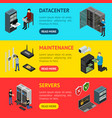 server hardware banner horizontal set isometric vector image vector image