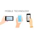 set three hands with phones vector image