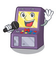 singing arcade machine next to mascot table vector image