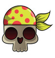 skull with bandana on white background vector image vector image