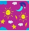 star sun cloud moon vector image vector image