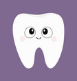 tooth icon big eyes cute funny cartoon smiling vector image