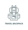 travel backpack line icon linear concept vector image vector image