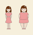 woman slim fat cartoon vector image