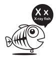 X X ray fish cartoon and alphabet for children to vector image vector image