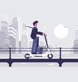 young man riding electric scooter modern cityscape vector image