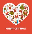 2018 heart poster of cartoon santa snowman and vector image vector image