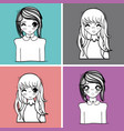 anime set cute expressions women vector image vector image