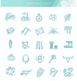 archeology line icons set collection