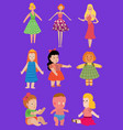 bacartoon dolls toy character girls vector image
