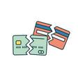 broken credit card single line icon on white vector image vector image