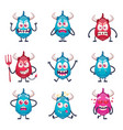 cartoon horned monsters set vector image vector image