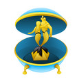 cartoon musical box with figures of a triton and vector image vector image