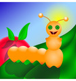 Caterpillar smiling on the leaf vector image vector image