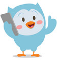 character owl with phone mascot vector image