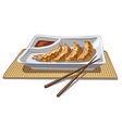 chinese dumplings with sauce vector image vector image