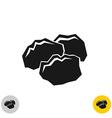 coal black rocks icon three pieces a coil vector image