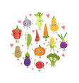 colorful funny vegetables cartoon characters vector image vector image
