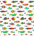 cute colorful cartoon aquarium fishes pattern vector image