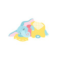 cute elephant sleeping in its bed funny animal vector image vector image