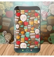 Cute food pattern on smart phone vector image vector image