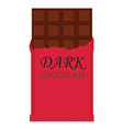 dark chocolate bar isolated on white background vector image vector image