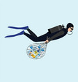 diver cleaning plastic trash from ocean isolated vector image vector image